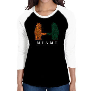 Women's Raglan Baseball Word Art  HURRICANE MIAMI